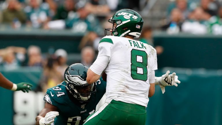 The Eagles defense terrorised Luke Falk and the hopeless Jets