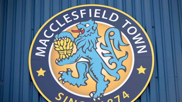 General view of Macclesfield Town club crest at Moss Rose Ground prior to the Pre-Season Friendly between Macclesfield Town and Wigan Athletic at Moss Rose Ground on July 20, 2016 in Macclesfield, England.