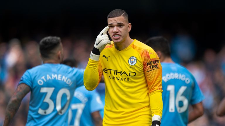Ederson reacts during the 2-0 loss to Wolves