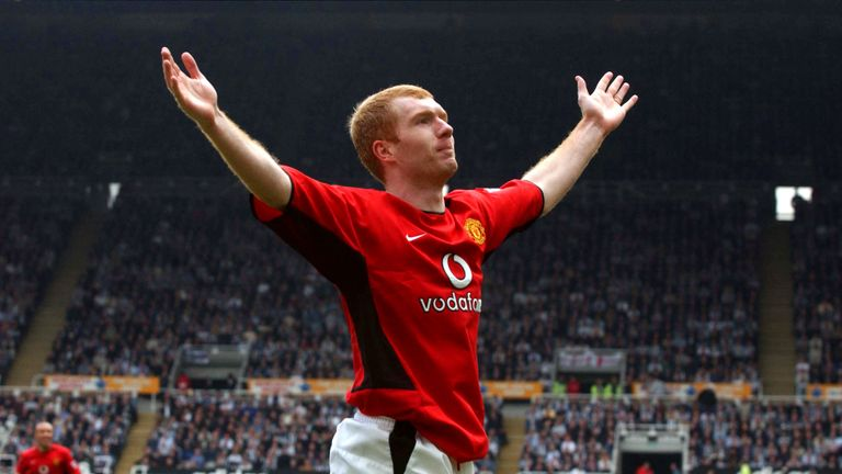 Paul Scholes scored a hat-trick in Manchester United's 6-2 win at Newcastle in April 2003
