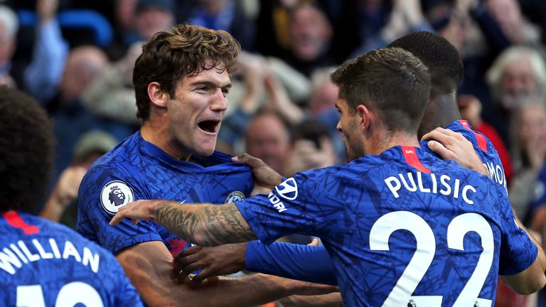 Marcos Alonso celebrates his match-winning goal against Newcastle