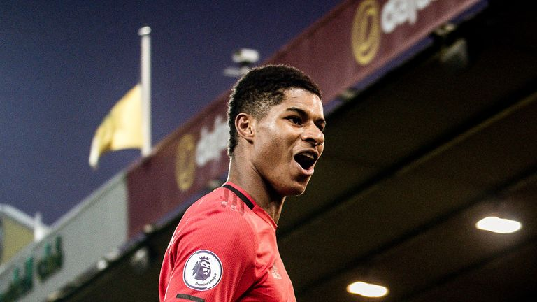 Marcus Rashford celebrates after doubling Manchester United's lead