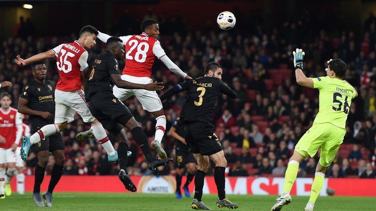 Gabriel Martinelli heads Arsenal level against Vitoria