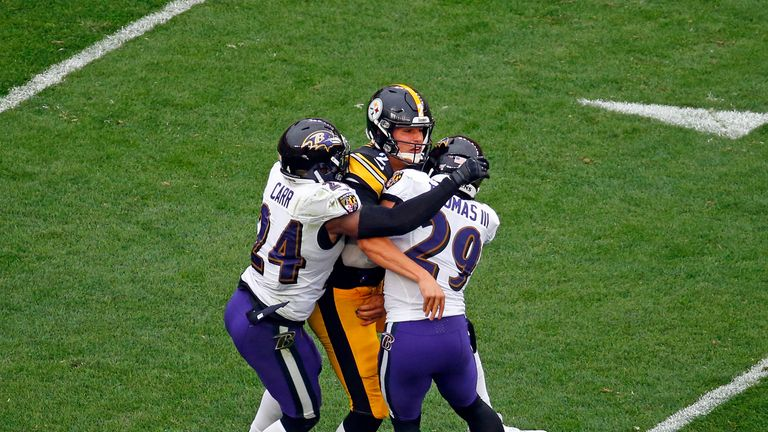 Rudolph was tackled Ravens defenders Brandon Carr and Earl Thomas