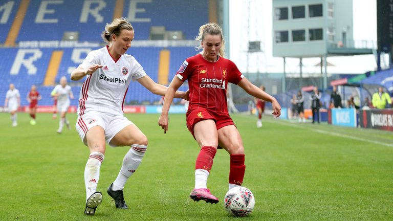 Melissa Lawley, right, in action for Liverpool against Sheffield United