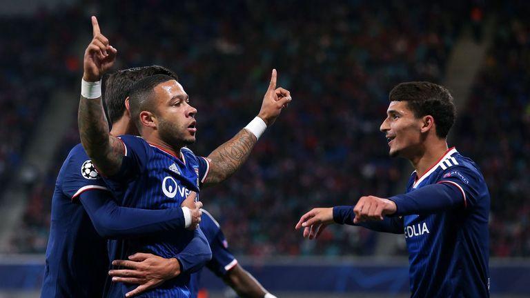 Memphis Depay celebrates opening the scoring for Lyon