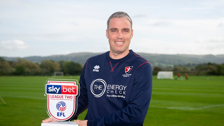 Michael Duff of Cheltenham Town wins the Sky Bet League Two Manager of the Month award - Mandatory by-line: Dougie Allward/JMP - 10/10/2019 - FOOTBALL -  - , England - Sky Bet Manager of the Month Award