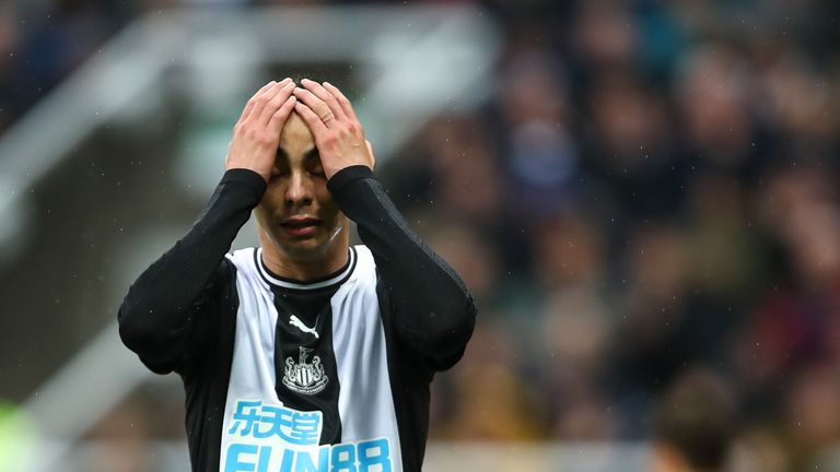 Miguel Almiron during the Premier League match between Newcastle United and Manchester United at St. James' Park