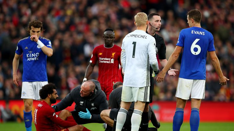 Mo Salah hobbled from the pitch after taking a heavy tackle on his ankle