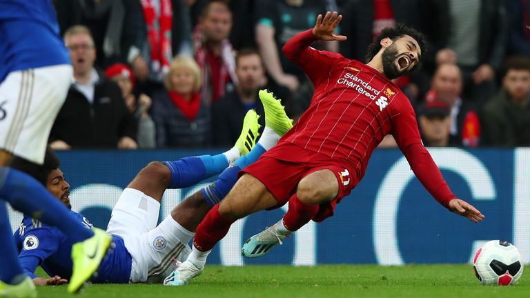 Hamza Choudhury was only booked for his reckless challenge on Mo Salah