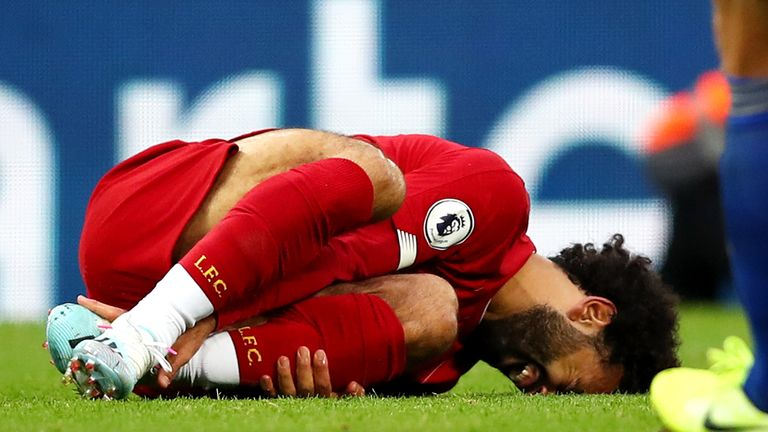 Salah twisted his ankle when tackled in Liverpool's win against Leicester
