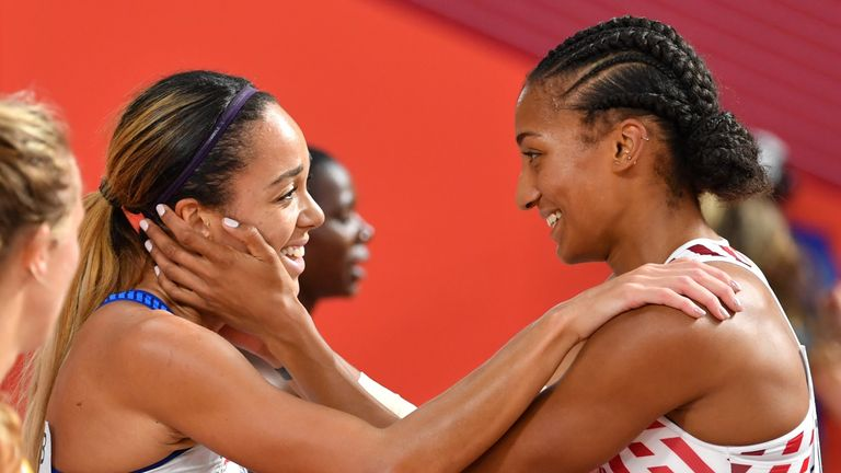 Nafi Thiam congratulates Johnson-Thompson on winning world heptathlon gold
