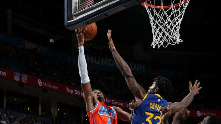 Shai Gilgeous-Alexander of the Oklahoma City Thunder shoots the ball against the Golden State Warriors