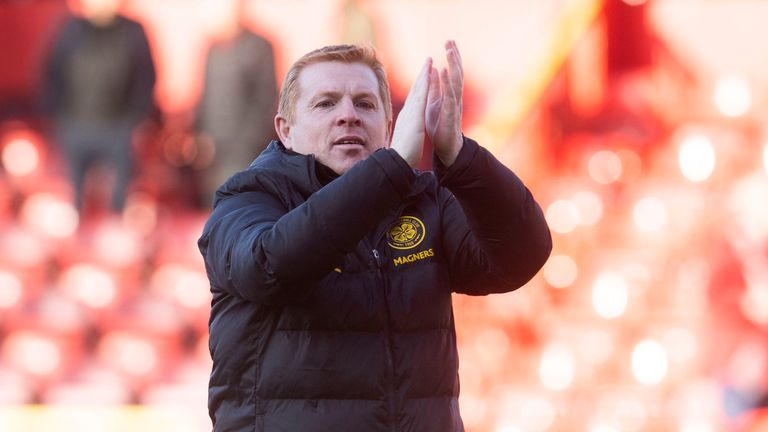 Celtic manager Neil Lennon celebrates at full time during the Premiership match between Aberdeen and Celtic