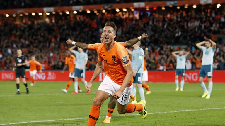 Netherland's Luuk de Jong celebrates his late goal against Northern Ireland