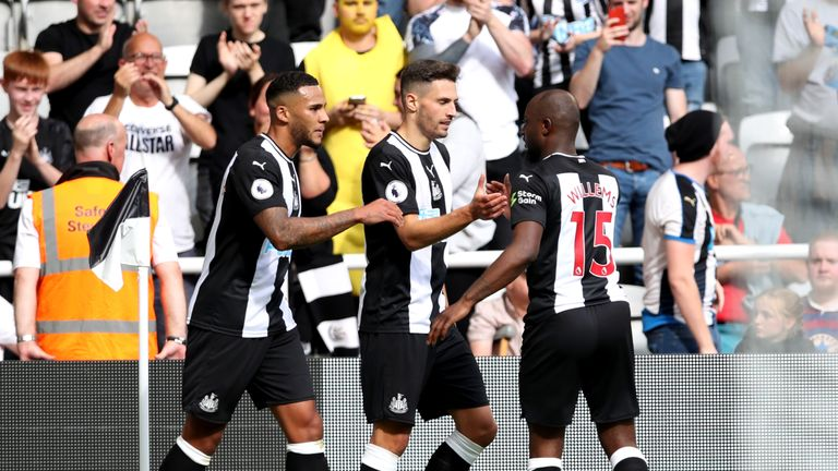 Newcastle defender Fabian Schar celebrates