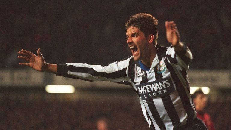 Philippe Albert celebrates his goal in Newcastle's 5-0 win over Manchester United in October 1996