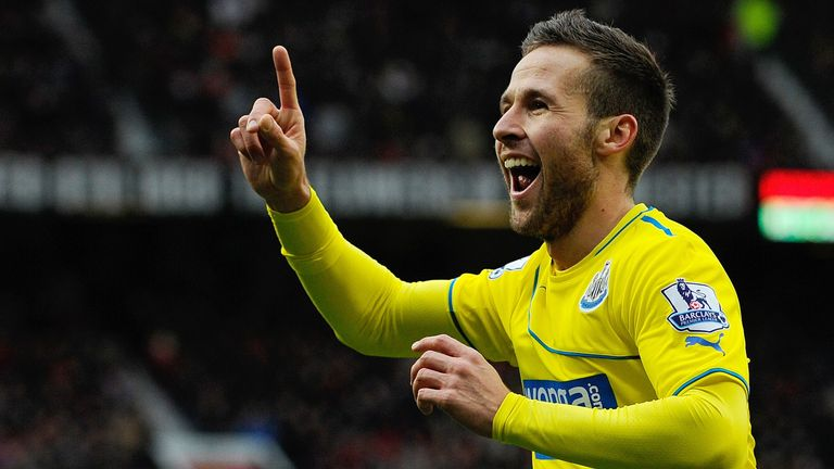 Yohan Cabaye celebrates his winning goal as Newcastle secure a first win at Old Trafford since 1972