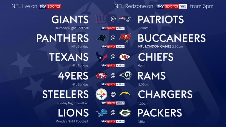 Your Week Six NFL games on Sky!