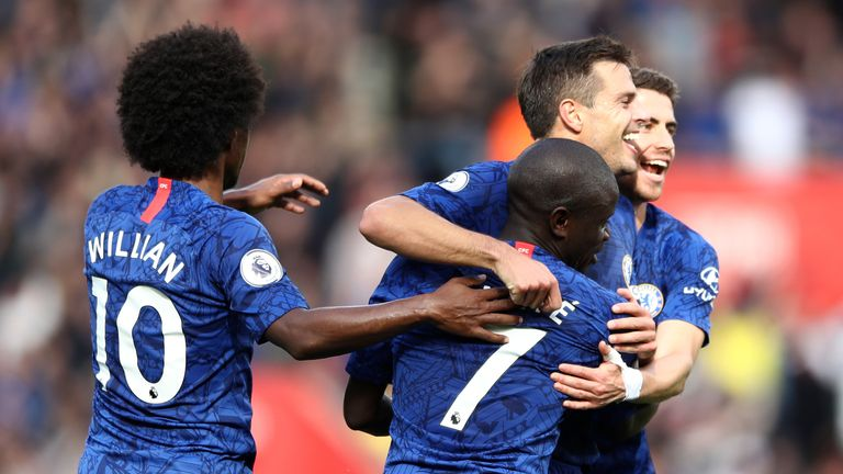 N'Golo Kante celebrates with team-mates after scoring Chelsea's third goal at St Mary's