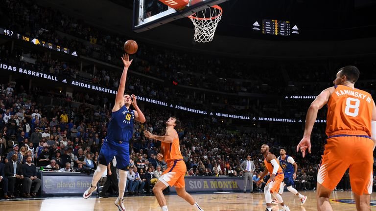 Nikola Jokic of the Denver Nuggets shoots the ball against the Phoenix Suns