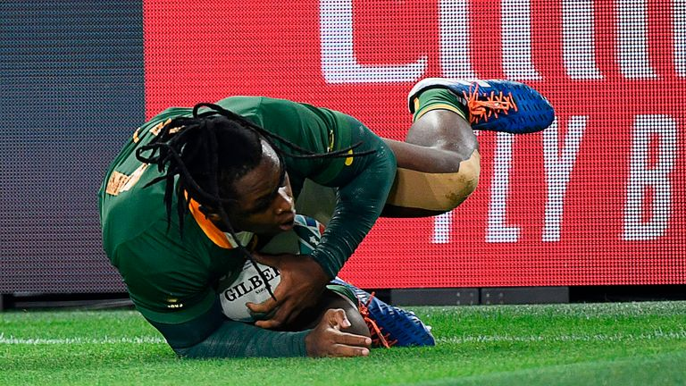 Wing S'bu Nkosi scored up the left wing as the Boks made a rapid start