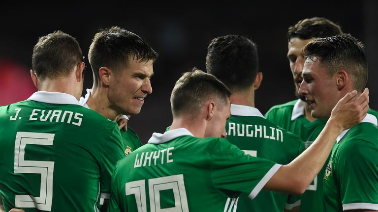 Northern Ireland celebrate after a blistering first-half display in Prague