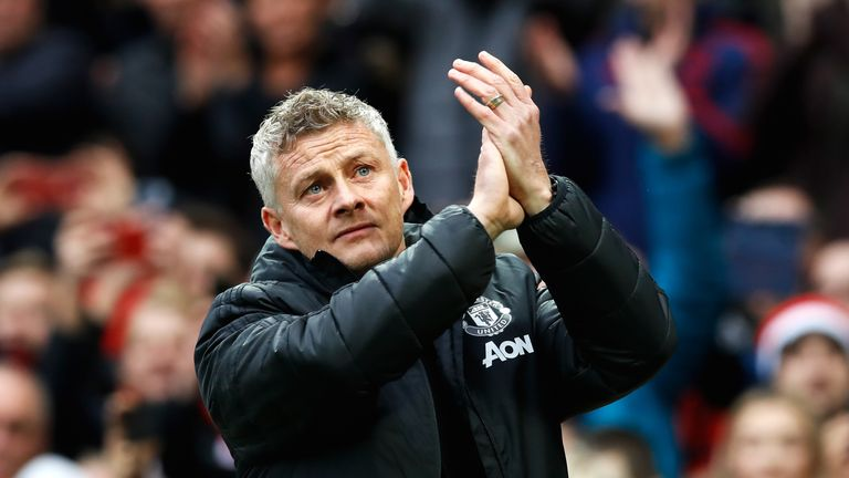Ole Gunnar Solskjaer applauds the fans at Old Trafford