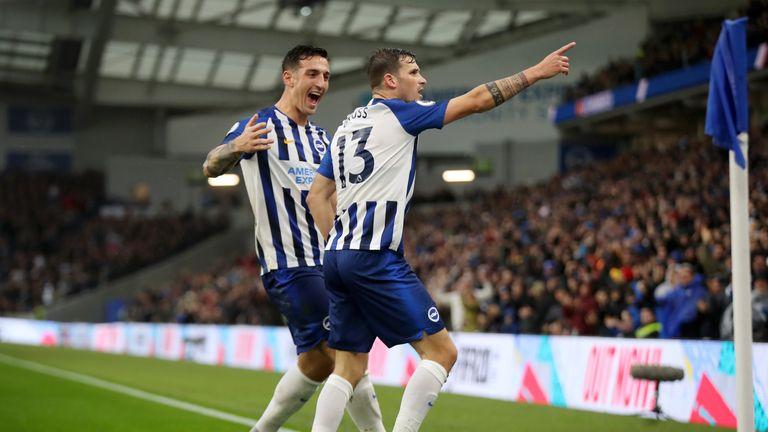 Pascal Gross celebrates putting Brighton ahead against Everton