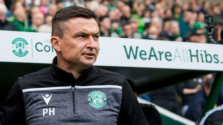 Hibernian boss Paul Heckingbottom will have to sit in the stand for two games