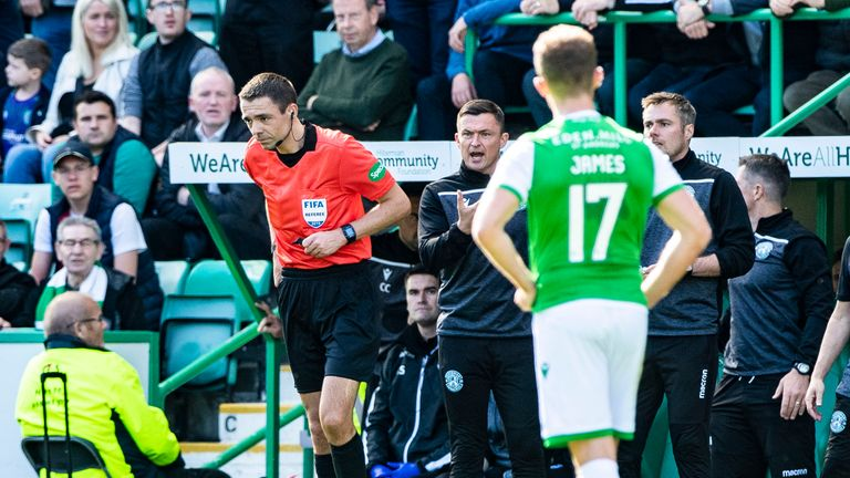 Hibernian manager Paul Heckingbottom is sent off by referee Kevin Clancy during the  Premiership match between Hibernian and Celtic at Easter Road