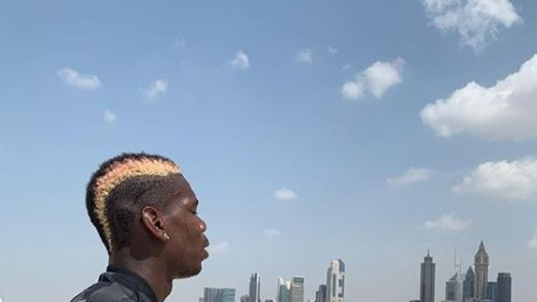 Pogba has been in Dubai for rehab this week