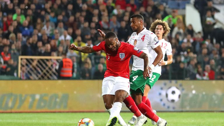 Raheem Sterling scores England's fifth goal in the win over Bulgaria