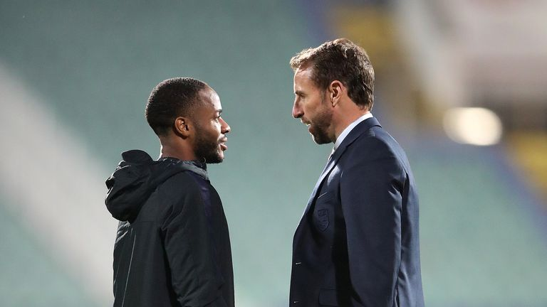 Raheem Sterling and manager Gareth Southgate after the final whistle in Sofia