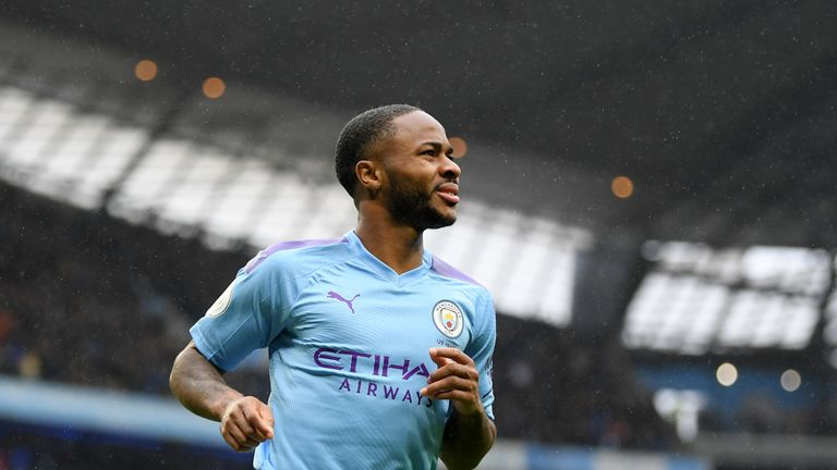 Raheem Sterling during Manchester City's win over Aston Villa