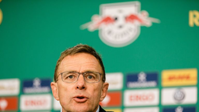 BERLIN, GERMANY - MAY 25: Coach Ralf Rangnick of RB Leipzig is seen during a press conference after the DFB Cup final between RB Leipzig and Bayern Muenchen at Olympiastadion on May 25, 2019 in Berlin, Germany. (Photo by Reinaldo Coddou H./Bongarts/Getty Images) *** Local Caption *** Ralf Rangnick