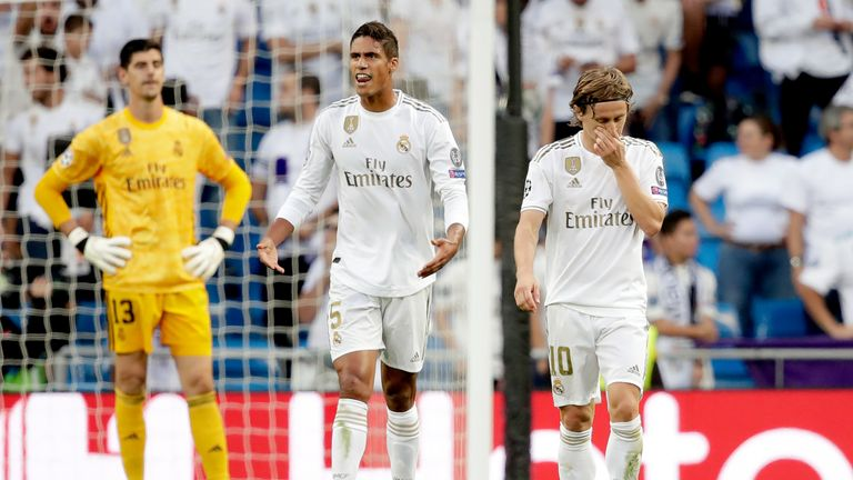 Real Madrid players after going 2-0 down against Club Brugge