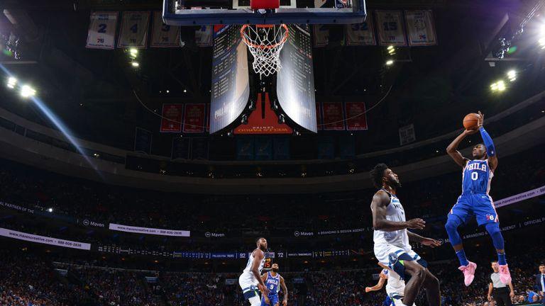 Josh Richardson of the Philadelphia 76ers shoots the ball against the Minnesota Timberwolves