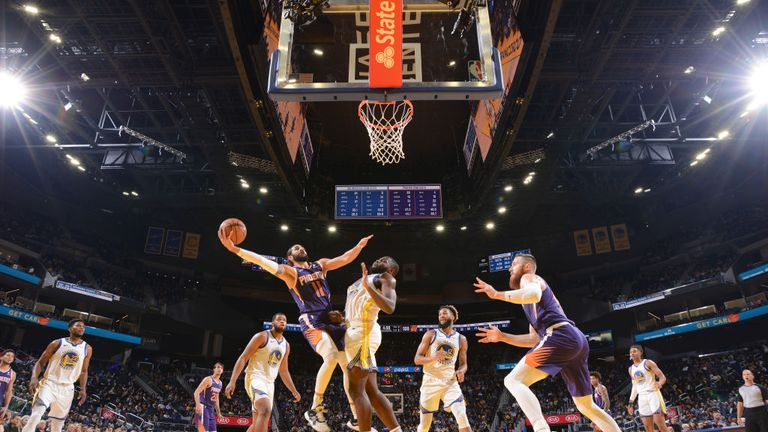 Ricky Rubio  of the Phoenix Suns shoots the ball against the Golden State Warriors