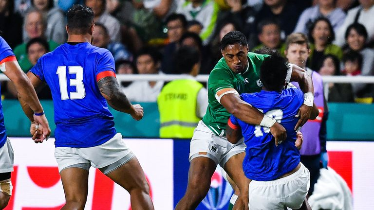 Bundee Aki was sent off for this tackle on Samoa fly-half Ulupano Seuteni