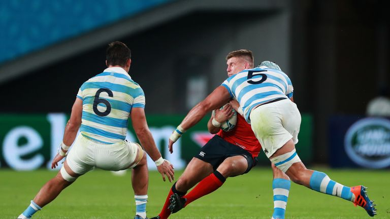 Tomas Lavanini was sent off for this dangerous tackle on England captain Owen Farrell