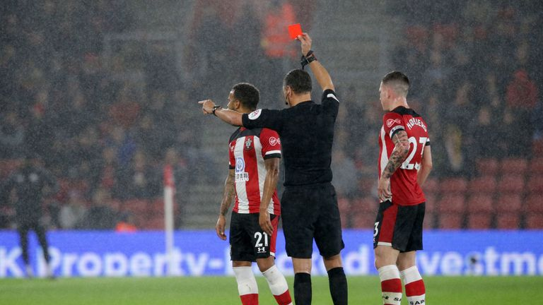 Ryan Bertrand was sent off in the first half for Southampton after a VAR review
