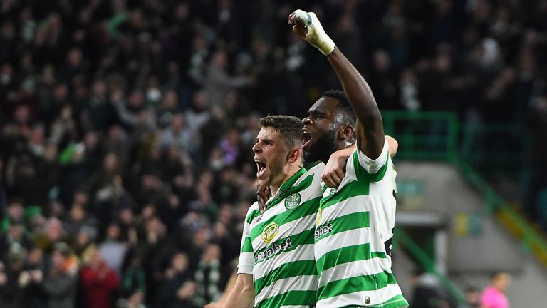 Celtic's Ryan Christie and Odsonne Edouard celebrating after beating Lazio in the Europa League