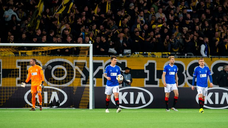 Ryan Jack is dejected after Young Boys score to make it 1-1 during the Europa League Group G match between Young Boys and Rangers