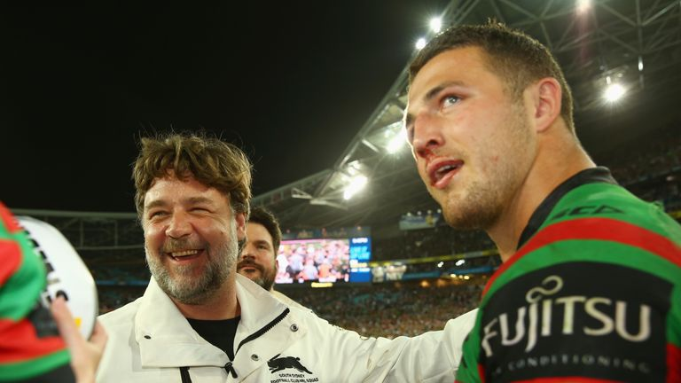 Sam Burgess with South Sydney owner and actor Russell Crowe