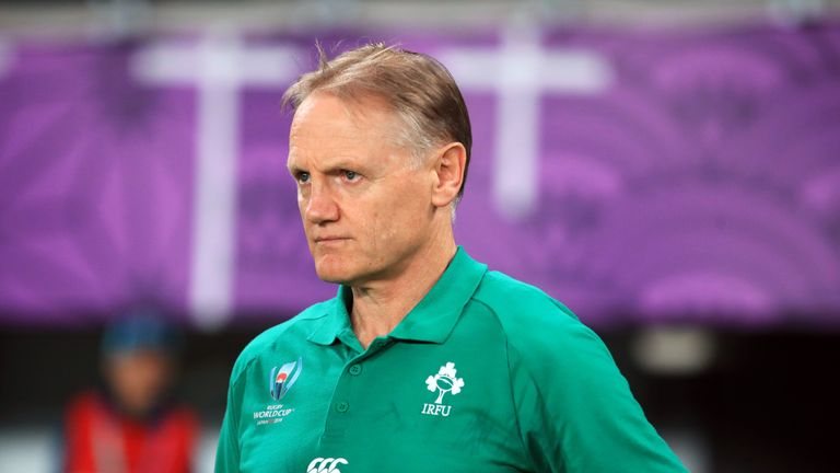Joe Schmidt looks on after Ireland's defeat to New Zealand in the Rugby World Cup quarter-finals.