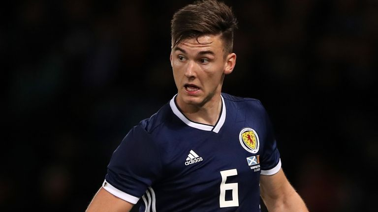 Kieran Tierney in action for Scotland during the recent friendly against Belgium