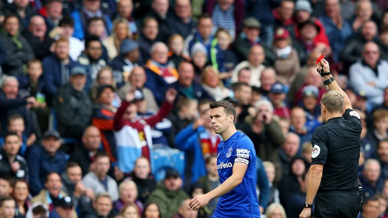 Seamus Coleman was dismissed for a second bookable offence by Graham Scott