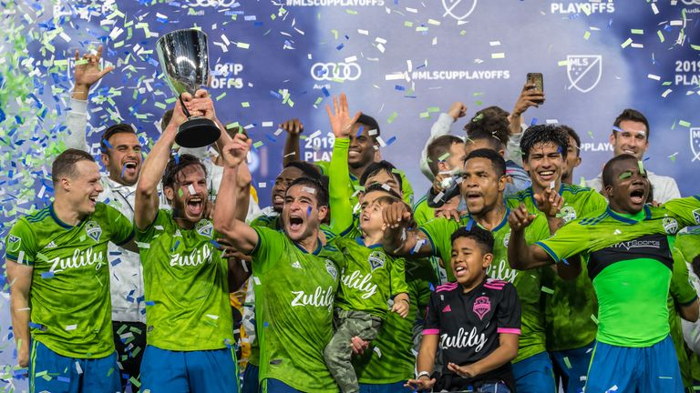 Seattle Sounders celebrate beating Los Angeles FC 3-1 to win the MLS Western Conference Final