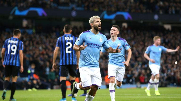 Sergio Aguero scored twice in the first half to underline his clinical ability